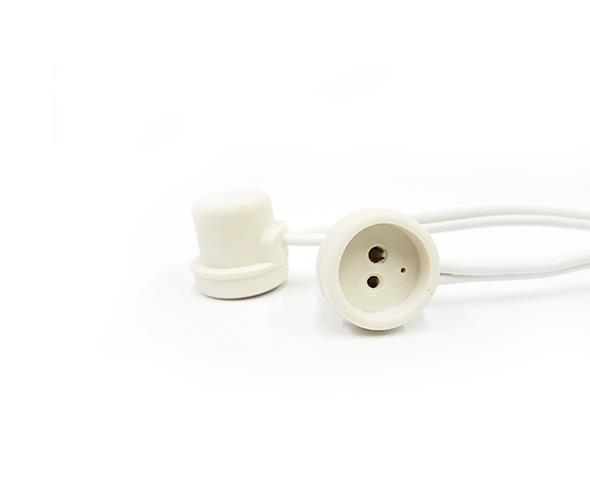 Base G5 para lâmpada tubular 2A/0-250V, com rabicho, pacote 50 unidades