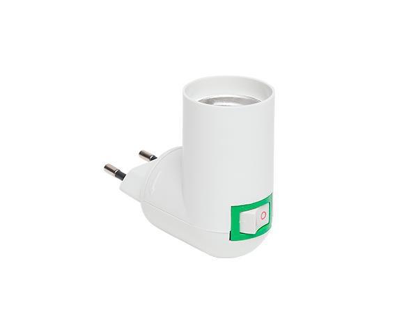 Bocal / Soquete Adaptador E27 com Plug Macho, ângulo 90°, 4A, 0-250V, (caixa 12un.)