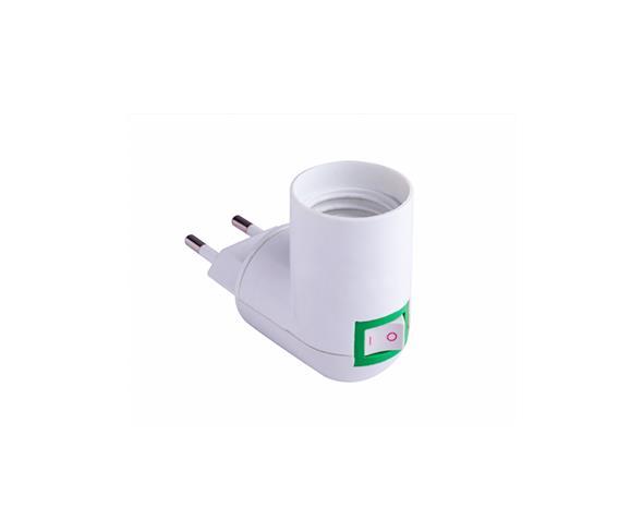Bocal/Soquete Adaptador E27 com Plug Macho, ângulo 90°, 4A/0-250V, caixa 12und