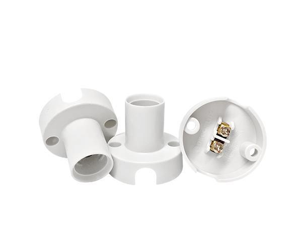 Bocal / Soquete E14 fixo termoplástico, cor branco, 1A, 0-250V, (caixa 50un.)