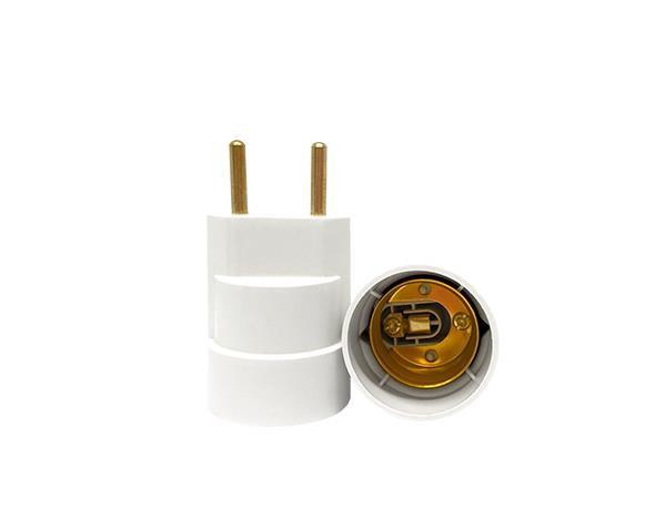 Bocal / Soquete E27 adaptador plug termoplástico, cor branco, 4A, 0-250V, (caixa 20un.)
