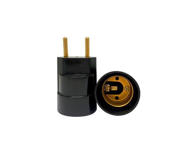Bocal / Soquete E27 adaptador plug termoplástico, cor preto, 4A, 250V, (caixa 20un.)
