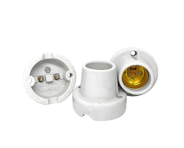 Bocal / Soquete E27 fixo de teto porcelana, cor branco, 4A, 0-250V, (caixa 50un.)