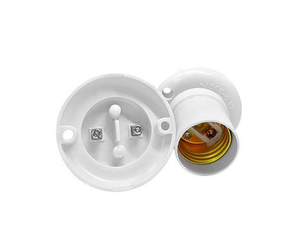 Bocal / Soquete E27 fixo de teto termoplástico, cor branco, 4A, 0-250V, (caixa 50un.)