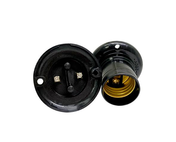 Bocal / Soquete E27 fixo de teto termoplástico, cor preto, 4A, 0-250V, (caixa 50un.)