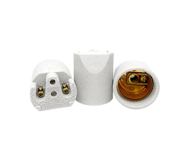 Bocal / Soquete E27 liso spot porcelana, cor branco, 4A, 0-250V, (caixa 50un.)