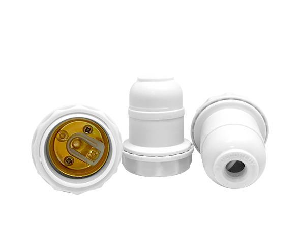 Bocal/Soquete E27 pendente abajur termoplástico, cor branco, 2A/0-250V, caixa com 50 unidades