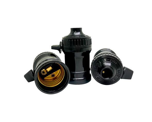 Bocal/Soquete E27 pendente com chave termoplástico, cor  cor preto, 4A/0-250V, caixa com 50 unidades