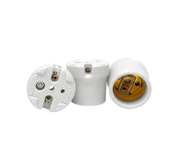 Bocal / Soquete E27 plafonier porcelana, cor branco, 4A, 0-250V, (caixa 50un.)