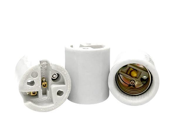 Bocal/Soquete E27 reforçado porcelan, cor branco, 4A/0-250V, caixa com 50 unidades