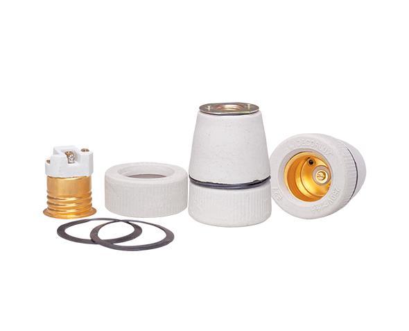 Bocal / Soquete E27 tempo porcelana, cor branco, 4A, 0-250V, caixa com (10un.)