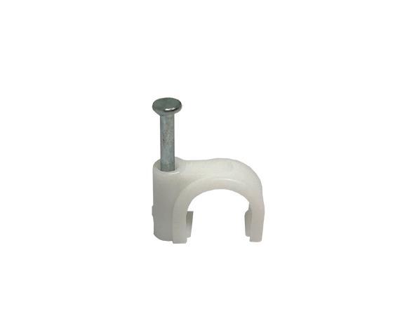Fixador de fio circular, 8,0mm², cor branco, pacote 50 unidades