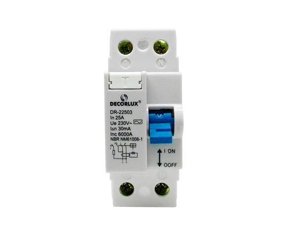 Interruptor, diferencial residual DR 25A-2P 30mA Tipo AC, (1un.)