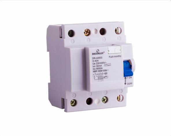 Interruptor, diferencial residual DR 40A-4P 30mA Tipo AC, (1un.)