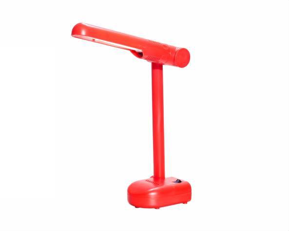 Luminária de mesa pelicano para fluor Pl 9W 127V, cor vermelho, (1un.)