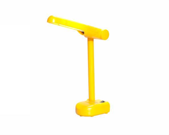 Luminária de mesa pelicano para fluor Pl 9W 220V, cor amarelo, (1un.)