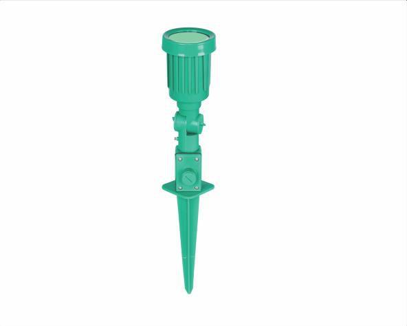 Luminária espeto de jardim LED,  100-240V 5W, corpo verde, luz cor verde, (1un.)