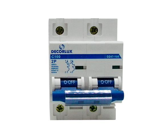 Mini disjuntor bipolar 100A 230-400V, (1un.)
