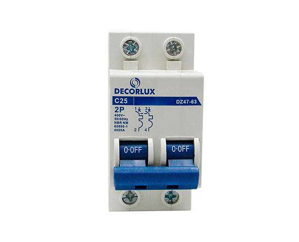 Mini disjuntor bipolar 25A 230-400V