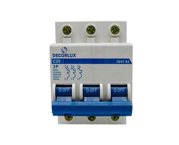 Mini disjuntor tripolar 20A 230-400V, (1un.)