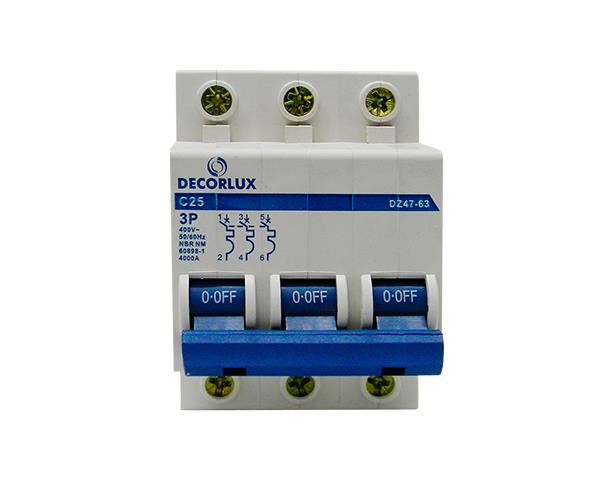 Mini disjuntor tripolar 25A 230-400V, (1un.)