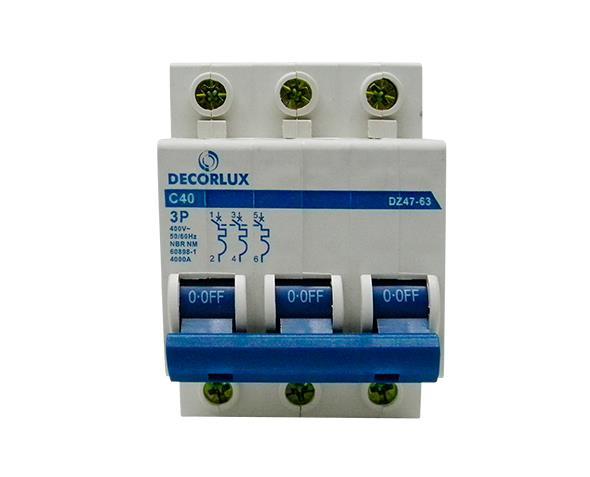 Mini disjuntor tripolar 40A 230-400V, (1un.)