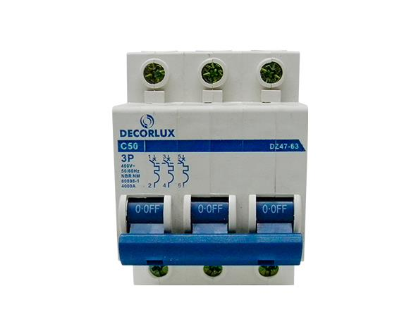Mini disjuntor tripolar 50A 230-400V, (1un.)