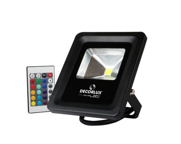 Refletor DecorLED SUPER LED, 100 240V 10W RGB, cor preto, (1un.)