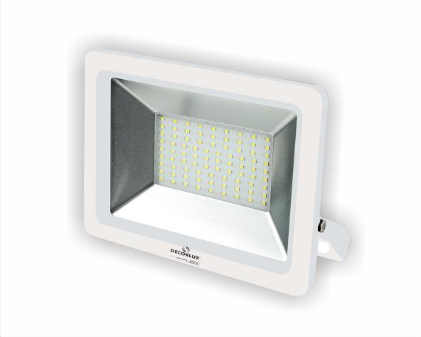 Refletor super LED, 100-240V 50W luz branca, cor branco, (1un.)