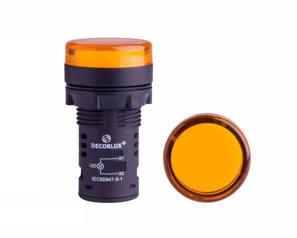 Sinalizador de LED Ø22mm, 110V, cor amarelo