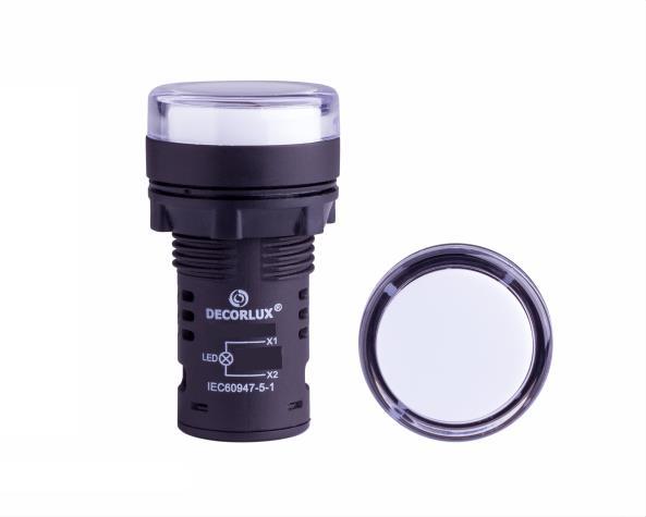 Sinalizador de LED Ø22mm, 110V, cor branco, (1un.)