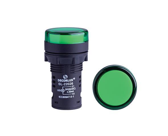 Sinalizador de LED Ø22mm, 220V, cor verde, (1un.)