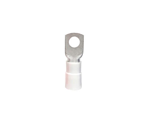 Terminal anel M10 pré isolado 50,0mm 134A, cor branco, pacote com 10 unidades