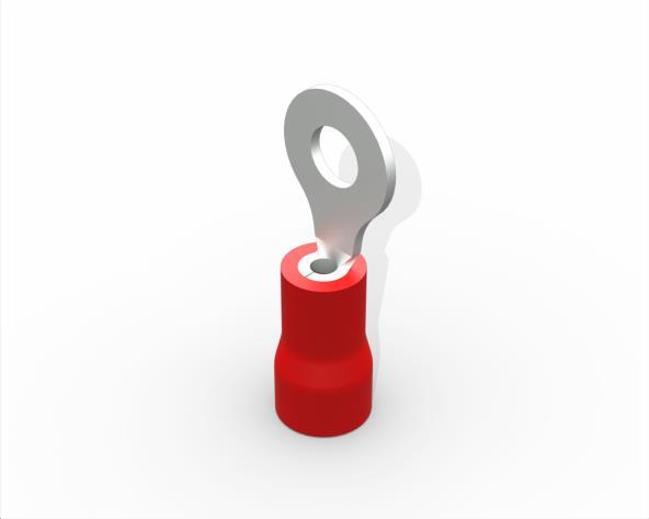 Terminal anel M3 pré isolado 0,5 a 1,5mm 19A, cor vermelho, pacote 50 unidades