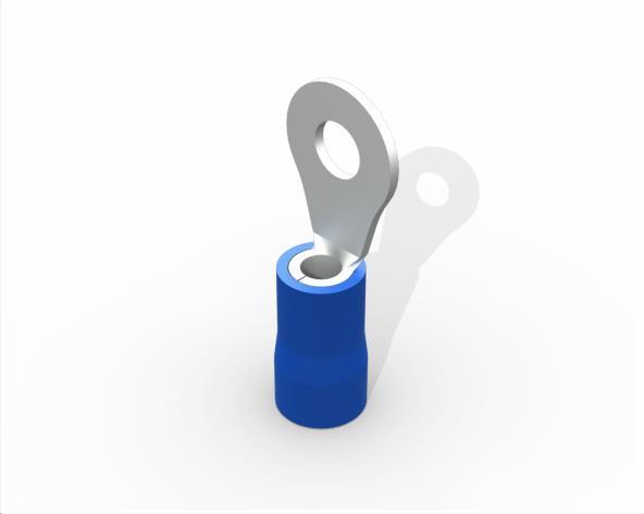 Terminal anel M3 pré isolado 1,5-2,5mm 27A, cor azul, (pacote 50un.)