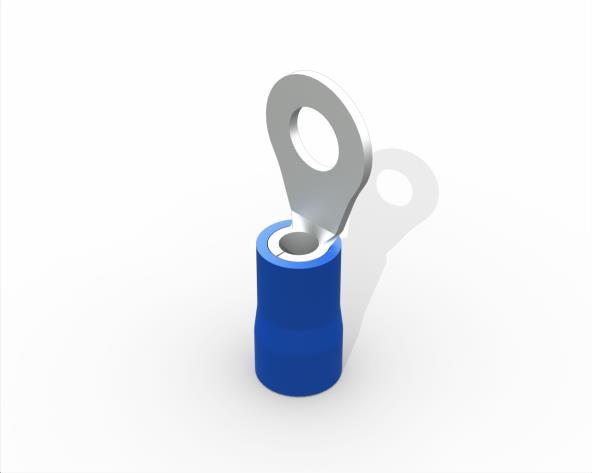 Terminal anel M4 pré isolado 1,5 a 2,5mm 27A, cor azul, (pacote 50un.)