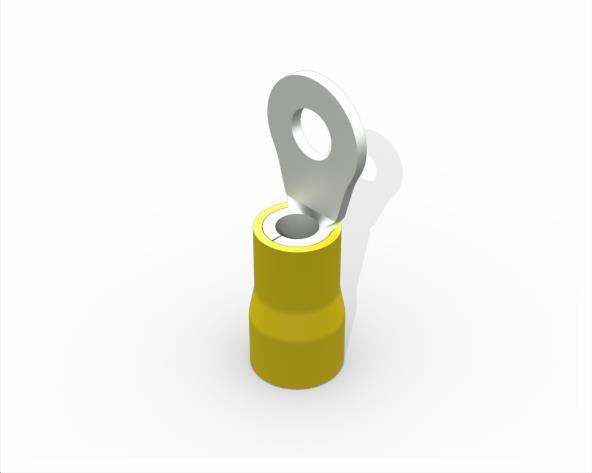 Terminal anel M4 pré isolado 4,0 a 6,0mm 48A, cor amarelo, (pacote 50un.)