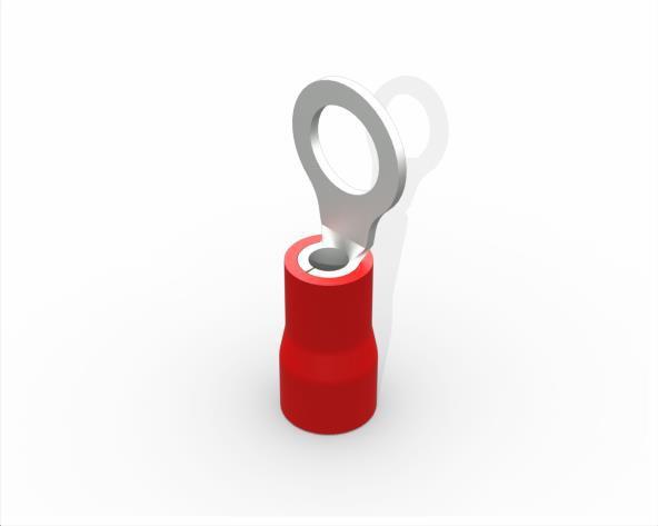Terminal anel M5 pré isolado 0,5 a 1,5mm 19A, cor vermelho, (pacote 50un.)