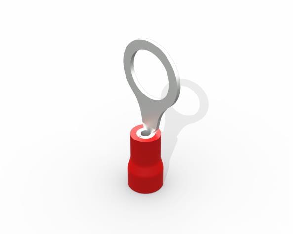 Terminal anel M8 pré isolado 0,5 a 1,5mm 19A, cor vermelho, pacote 50 unidades