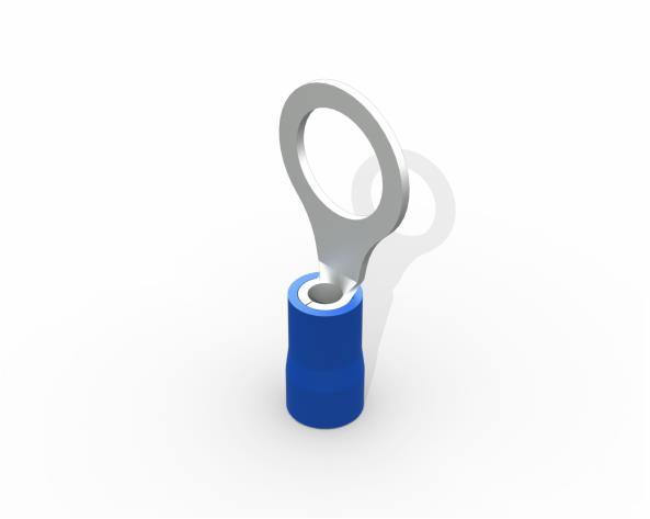 Terminal anel M8 pré isolado 1,5 a 2,5mm 27A, cor azul, pacote 50 unidades