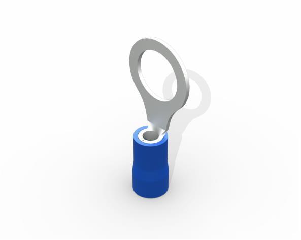 Terminal anel M8 pré isolado 1,5 a 2,5mm 27A, cor azul, (pacote 50un.)