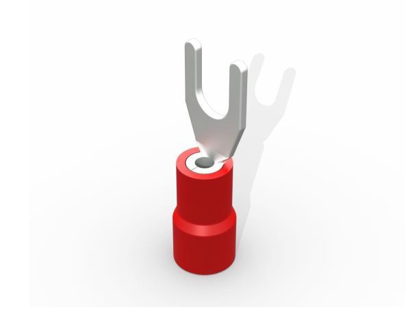 Terminal garfo,M3,pré isolado  0,5-1,5mm 9A, cor vermelho, (pacote 50un.)