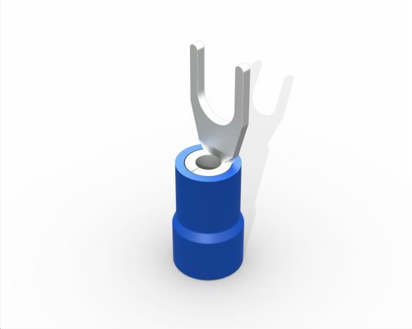 Terminal garfo,M3,pré isolado  1,5-2,5mm 27A, cor azul, pacote 50 unidades