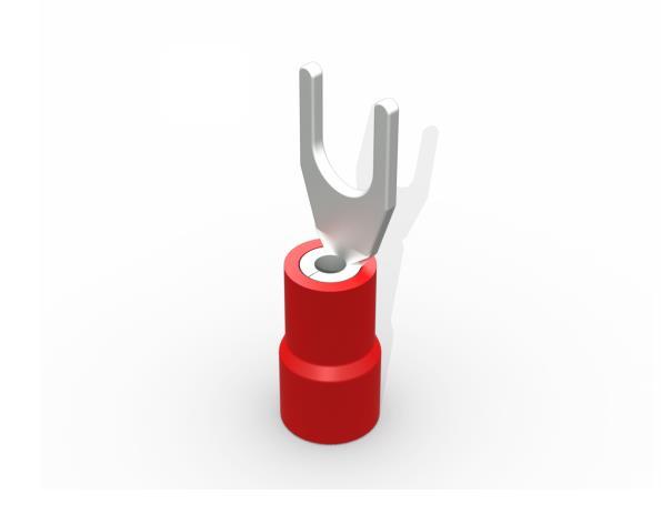 Terminal garfo,M4,pré isolado  0,5-1,5mm 9A,  cor vermelho, pacote 50 unidades