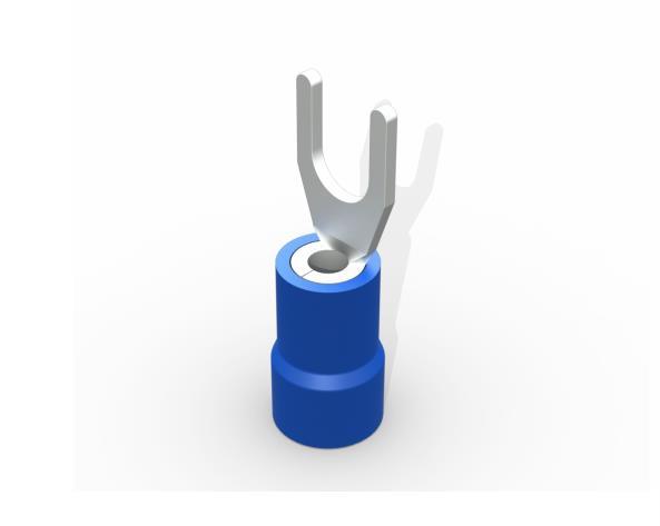 Terminal garfo,M4,pré isolado  1,5-2,5mm 27A,  cor azul, pacote 50 unidades
