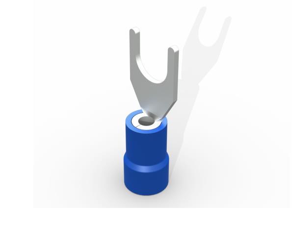 Terminal garfo,M5,pré isolado  1,5-2,5mm 27A, cor azul, pacote 50 unidades