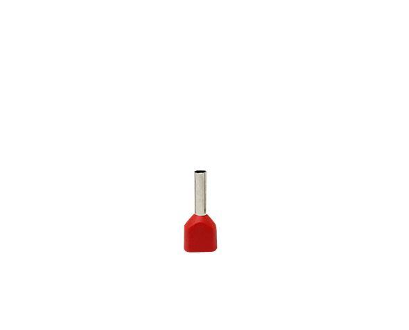 Terminal ilhós duplo tubular 2x1,0mm 12A, cor vermelho, pacote 50 unidades