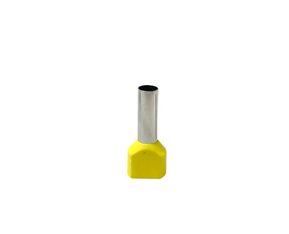 Terminal ilhós duplo tubular 2x6,0mm 36A, cor amarelo, pacote 50 unidades