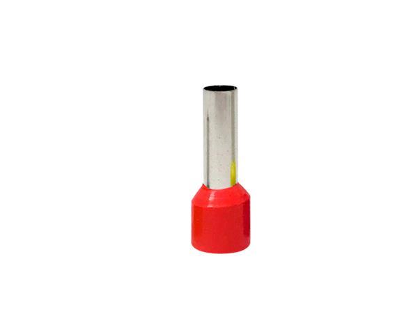 Terminal ilhós simples-tubular 10,0mm 50A, cor vermelho, (pacote 50un.)