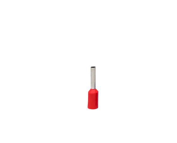 Terminal ilhós simples tubular 1,0mm 12A, cor vermelho, (pacote 50un.)